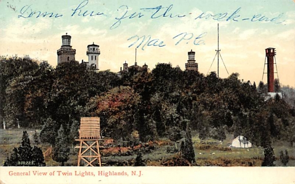 General View of Twin Lights Highlands, New Jersey Postcard