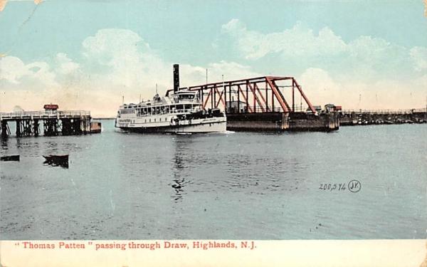 Thomas Patten passing through Draw Highlands, New Jersey Postcard