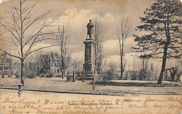 Soldiers Monument Hoboken, New Jersey Postcard