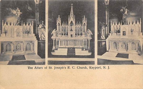 The Altars of St. Joseph's R. C. Church Keyport, New Jersey Postcard