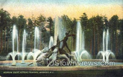 Georgian Court Fountain - Lakewood, New Jersey NJ Postcard