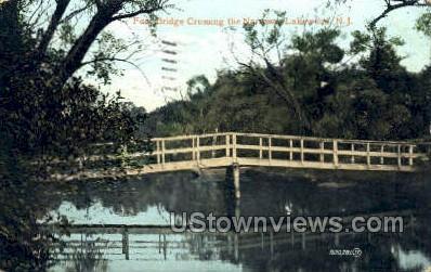 Foot Bridge Crossing  - Lakewood, New Jersey NJ Postcard
