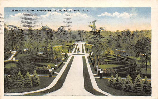 Italian Gardens, Georgian Court Lakewood, New Jersey Postcard