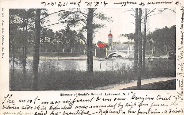 Glimpse of Gould's Ground Lakewood, New Jersey Postcard