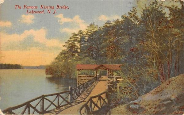 The Famous Kissing Bridge Lakewood, New Jersey Postcard