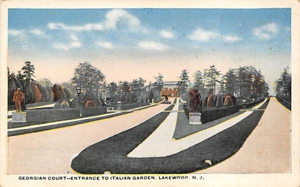 Georgian Court -- Entrance to Italian Garden Lakewood, New Jersey Postcard
