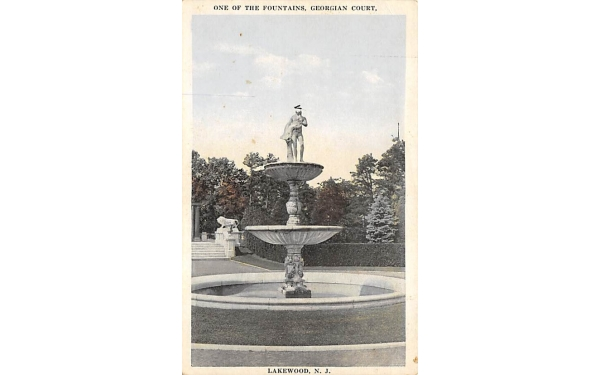 One of the Fountains, Georgian Court Lakewood, New Jersey Postcard