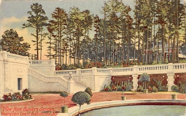 View from Sunken Garden, Georgian Court Lakewood, New Jersey Postcard