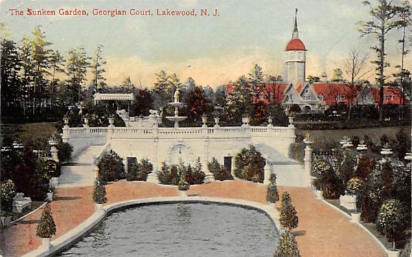 The Sunken Garden, Georgian Court Lakewood, New Jersey Postcard