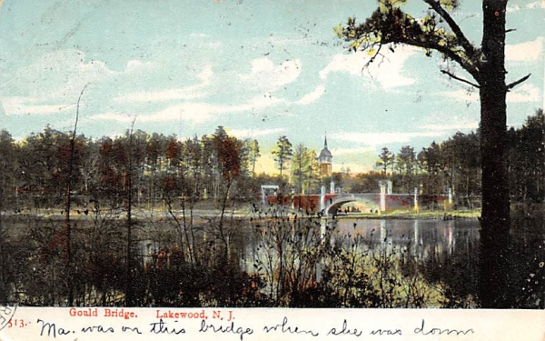 Gould Bridge Lakewood, New Jersey Postcard