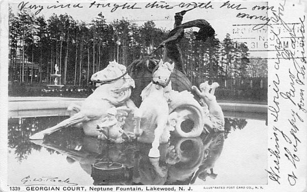 Neptune Fountain, Georgian Court Lakewood, New Jersey Postcard