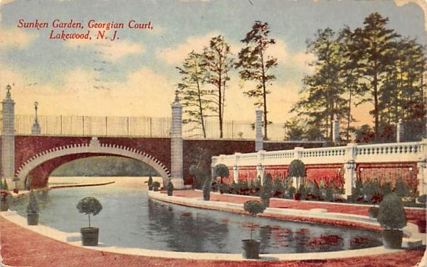 Sunken Garden, Georgian Court Lakewood, New Jersey Postcard