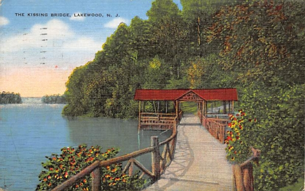 The Kissing Bridge Lakewood, New Jersey Postcard