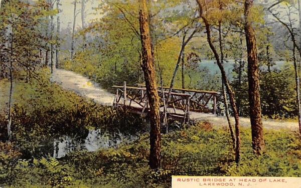 Rustic Bridge at Head of Lake Lakewood, New Jersey Postcard