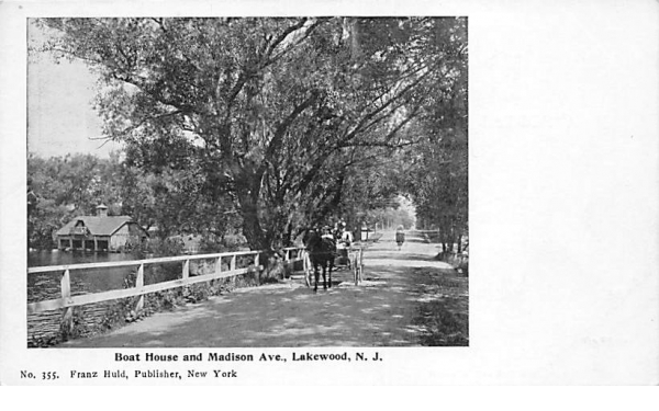 Boat House and Madison Ave. Lakewood, New Jersey Postcard