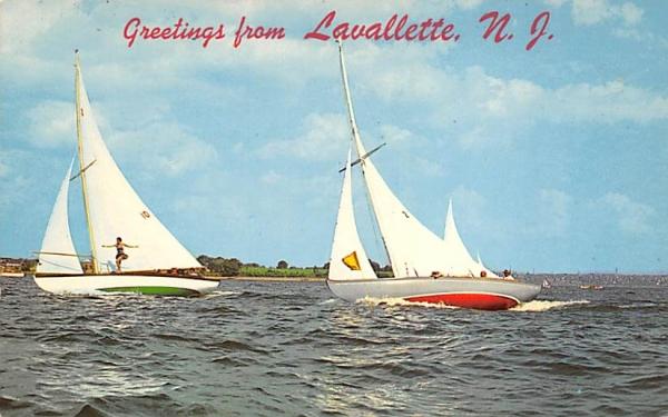Heeling in a Stiff Breeze Lavallette, New Jersey Postcard
