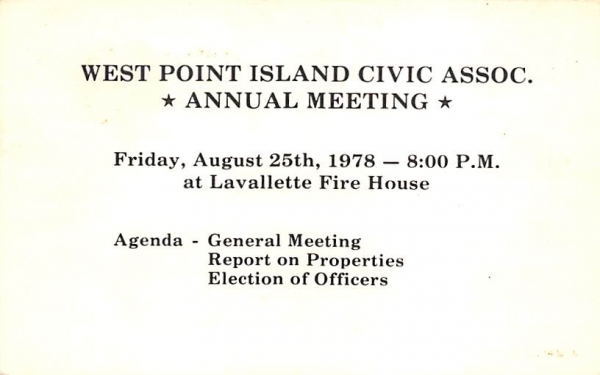 West Point Island Civic Assoc., Annual Meeting Lavallette, New Jersey Postcard