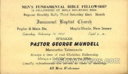 Immanuel Baptist Church  - Mapleshade, New Jersey NJ Postcard