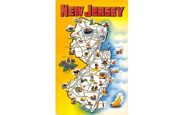 Map of New Jersey Postcard