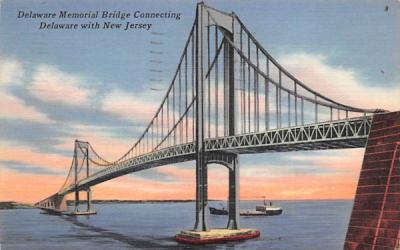Delaware Memorial Bridge Misc, New Jersey Postcard
