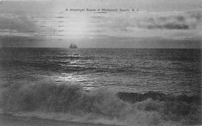 A Moonlight Scene  Monmouth Beach, New Jersey Postcard