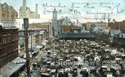 Centre Market Scene - Newark, New Jersey NJ Postcard