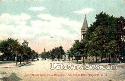 Livingston Avenue  - New Brunswick, New Jersey NJ Postcard