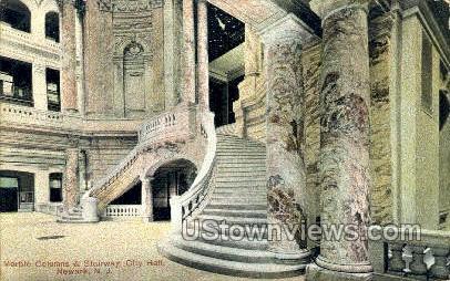 Marble Columns, Stairway City Hall - Newark, New Jersey NJ Postcard