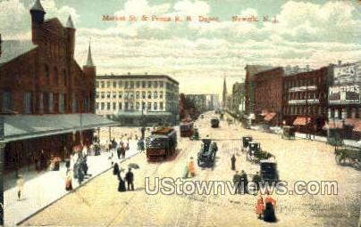 Market Street And Penna Rr Depot - Newark, New Jersey NJ Postcard