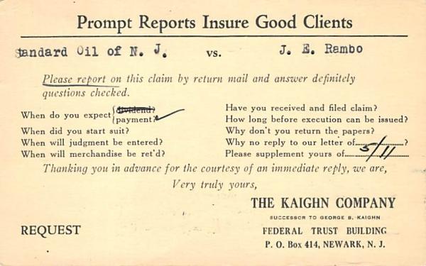 The Kaighn Company Newark, New Jersey Postcard