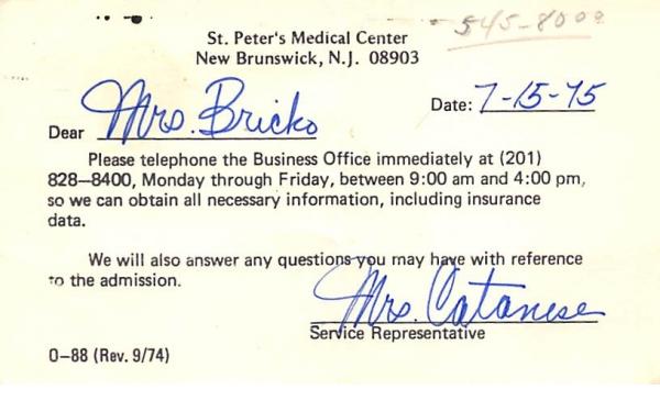 St. Peter's Medical Center New Brunswick, New Jersey Postcard