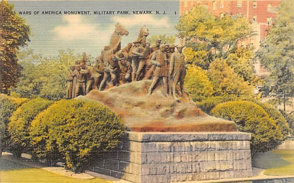 Wars of America Monument, Military Park Newark, New Jersey Postcard
