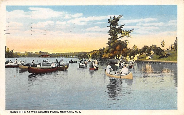 Canoeing at Weequahic Park Newark, New Jersey Postcard