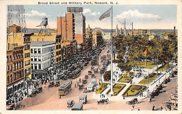 Board Street and Military Park Newark, New Jersey Postcard