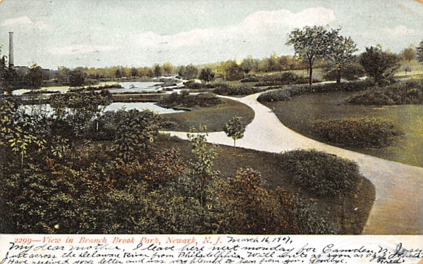 View in Branch Brook Park Newark, New Jersey Postcard
