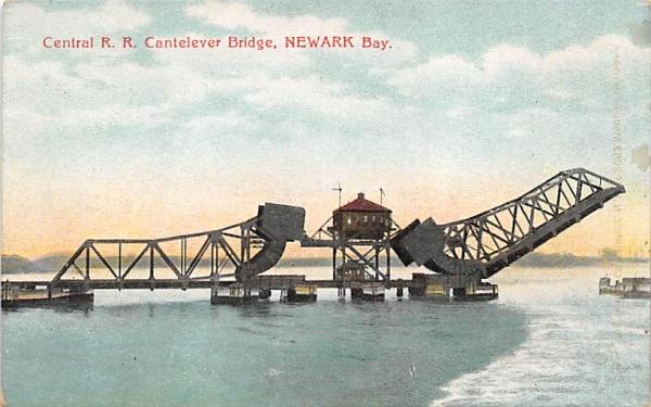 Central R. R. Cantelever Bridge Newark, New Jersey Postcard