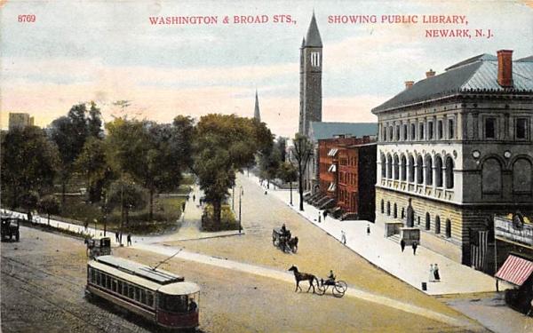 Washington & Broad Sts. Newark, New Jersey Postcard