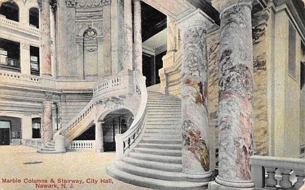 Marble Columns & Stairway, City Hall Newark, New Jersey Postcard