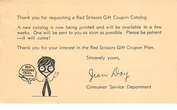Red Scissors Gift Coupon Newark, New Jersey Postcard