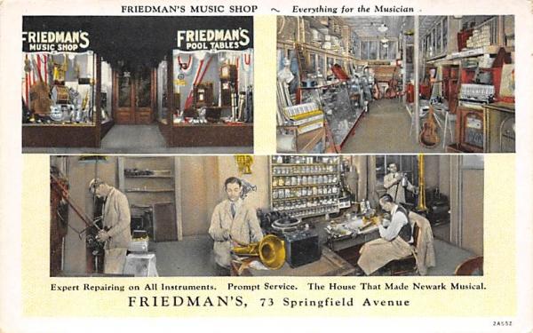 Friedman's Music Shop Newark, New Jersey Postcard