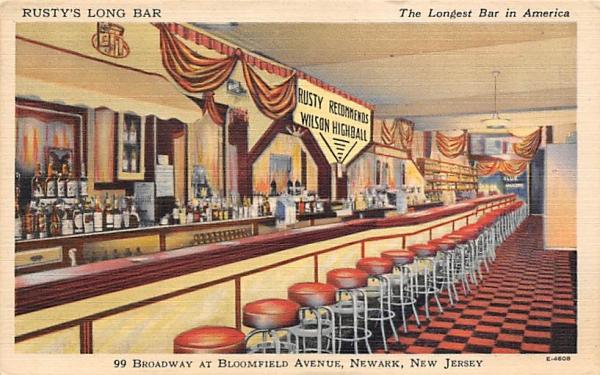 Rusty's Long Bar, The Longest Bar in America Newark, New Jersey Postcard
