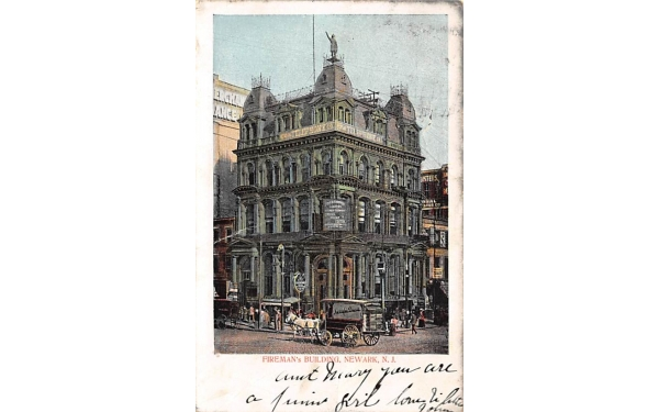 Fireman's Building Newark, New Jersey Postcard