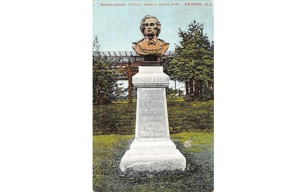 Mendelssohn Statue, Branch Brook Park Newark, New Jersey Postcard
