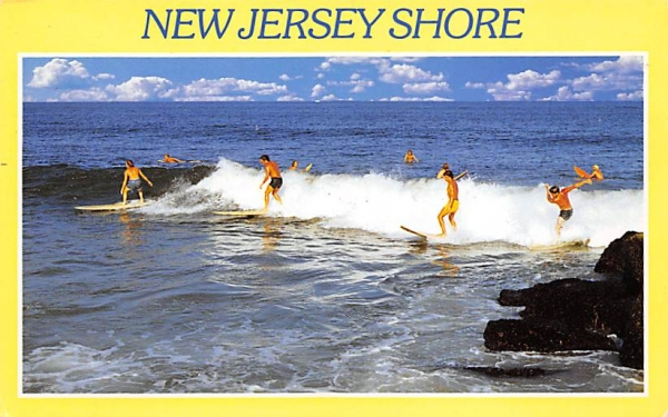 Surfing at Bay Head on the Jersey Shore New Jersey Shore Postcards, New Jersey