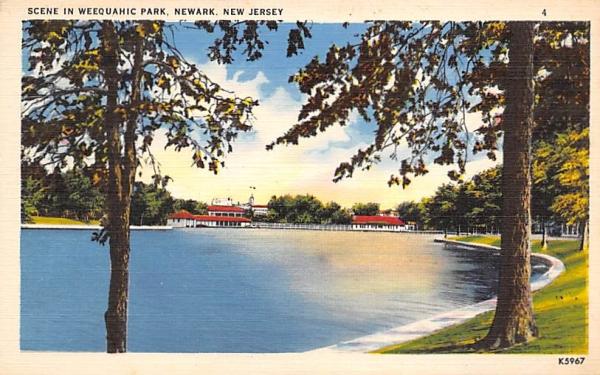 Scene in Weequahic Park Newark, New Jersey Postcard