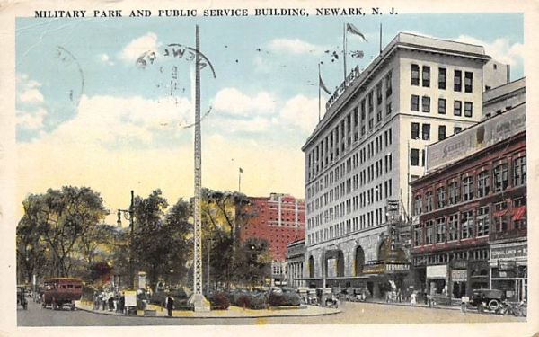 Military Park and Public Service Building Newark, New Jersey Postcard