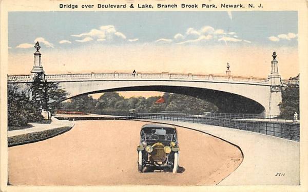 Boulevard & Lake, Branch Brook Park Newark, New Jersey Postcard