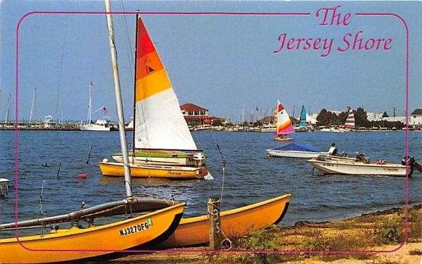 A picturesque scene of boats at Barnegat Bay New Jersey Shore Postcards, New Jersey