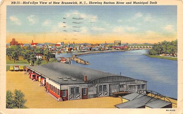 Bird's-Eye View of New Brunswick, N. J. New Jersey Postcard