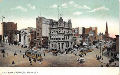 Broad & Market Sts. Newark, New Jersey Postcard